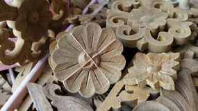 Teak wood  flower carving for decoration interior work Royalty Free Stock Photography