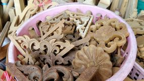 Teak wood flower carving for decoration interior work Stock Images