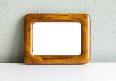 Teak wood frame. Image of vintage teak wood frame mockup Stock Image