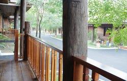 Teak Wood Handrail. In a resort royalty free stock image