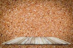 Teak wood shelf on concrete rough surface use for background. Teak wood shelf on concrete rough surface use for background royalty free stock image