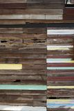 Teak wood wall. Old wooden decay wall of vintage house stock photos