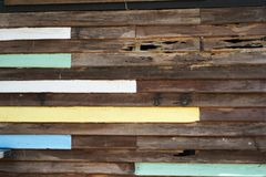 Teak wood wall. Old wooden decay wall of vintage house royalty free stock photography