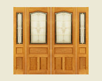 Teak wooden door with  frosted glass interior on isolated backgro Royalty Free Stock Photos