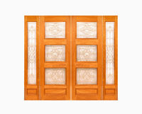Teak  wooden door on isolated white background. Royalty Free Stock Image