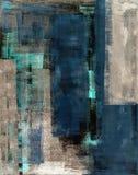 Teal и бежевая картина абстрактного искусства Стоковые Фотографии RF