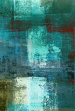 Teal и зеленая картина абстрактного искусства