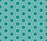 Free Teal And White Hexagon Tiles Pattern Repeat Background Stock Images - 46111214