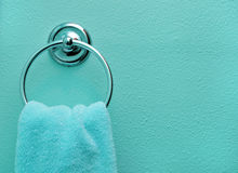Teal Bathroom Towel Royalty Free Stock Photos