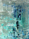 Teal and Beige Abstract Art Painting Royalty Free Stock Photo