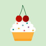 Teal birthday cupcake with butter cream vector illustration. Royalty Free Stock Images