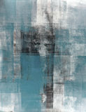 Teal and Black Abstract Art Painting Stock Image