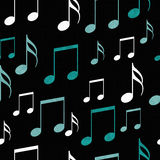 Teal, Black and White Music Notes Tile Pattern Repeat Background Stock Images
