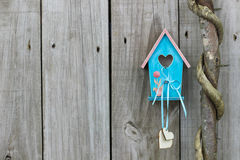 Teal blue birdhouse with hearts hanging next to honey locust tree royalty free stock images