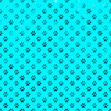 Teal Blue Dog Paw Metallic Foil Polka Dot Paws Background Royalty Free Stock Photography