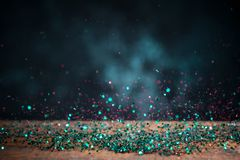 Teal Blue Glitter Lights Background Chispa Bokeh del vintage con Imagen de archivo