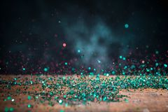 Teal Blue Glitter Lights Background Chispa Bokeh del vintage con Imagenes de archivo