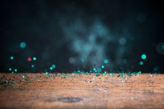 Teal Blue Glitter Lights Background Chispa Bokeh del vintage con Foto de archivo