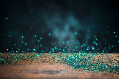 Teal Blue Glitter Lights Background Chispa Bokeh del vintage con Fotografía de archivo libre de regalías