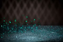Teal Blue Glitter Lights Background Chispa Bokeh del vintage con Fotografía de archivo