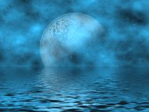 Teal Blue Moon & Water. Beautiful Fantasy Background Teal Blue Moon & Stars Overlooking The Water Royalty Free Stock Photos