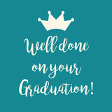 Teal blue Well done on your Graduation greeting card Royalty Free Stock Photography