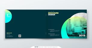 Teal Brochure design. Horizontal cover template for brochure, report, catalog, magazine. Layout with gradient circle. Shapes and abstract photo background royalty free illustration
