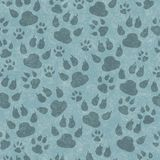 Teal cat paw prints seamless pattern background royalty free stock image