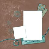 Teal and coffee frame background Stock Images