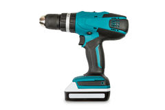 Teal color cordless combi drill Royalty Free Stock Photography