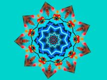 Teal Colored Background et Mandala Star Design Illustration Stock
