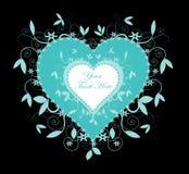 Teal Colored Heart och virvlar på svart Royaltyfri Foto
