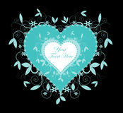Teal Colored Heart and Swirls on Black