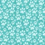 Teal Doggy Paw Print Tile-het Patroon herhaalt Achtergrond stock foto