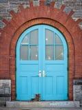 Teal door Stock Photos