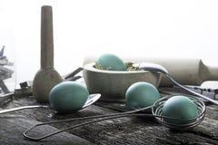 Teal Easter Eggs avec des cuillères Images libres de droits
