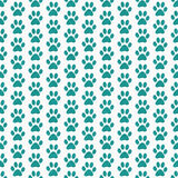 Teal et fond blanc de Paw Prints Tile Pattern Repeat de chien Photo stock