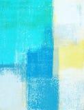 Teal et jaune Art Painting abstrait Photo stock