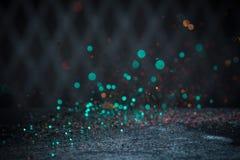 Teal Glitter Lights Background. Vintage Sparkle Bokeh With Selec Stock Images