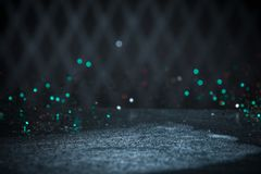 Teal Glitter Lights Background. Vintage Sparkle Bokeh With Selec. Tive Focus. Defocused Stock Photos