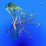 Teal Glowing Jellyfish Lizenzfreies Stockfoto