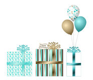 Teal and Gold Birthday Gifts Royalty Free Stock Images