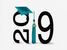 Graduation cap and tassel 2019 teal and black royalty free stock photos