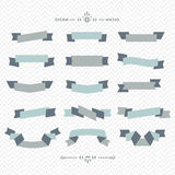 Teal and gray ribbon banners set on chevron pattern background Stock Photography