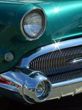 Teal Grill. A vintage car with grill and lights stock image
