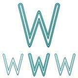 Teal line w logo design set. Teal line letter w logo design set Stock Images