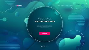 Teal Liquid color background design for Landing page site with circle. Fluid gradient shapes composition. Futuristic. Design posters. Eps10 vector royalty free illustration