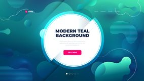 Teal Liquid color background design for Landing page site with circle. Fluid gradient shapes composition. Futuristic. Design posters. Eps10 vector stock illustration
