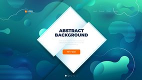Teal Liquid color background design for Landing page site with daimond shape. Fluid gradient shapes composition. Futuristic design posters. Eps10 vector royalty free illustration