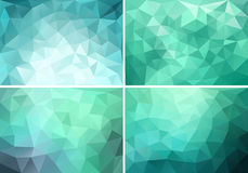 Teal Low Poly Backgrounds, Vector Set Royalty Free Stock Photography